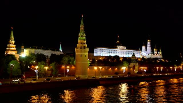 moskva, night utsikt över kreml. - kreml bildbanksvideor och videomaterial från bakom kulisserna