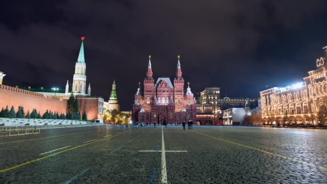 Moscow Red Square with State Historical Museum and Kremlin timelapse at night video