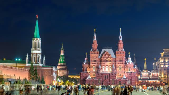 moskva ryssland tidsfördröjning 4k, city skyline night timelapse på röda torget och nikolskaya tower - röda torget bildbanksvideor och videomaterial från bakom kulisserna