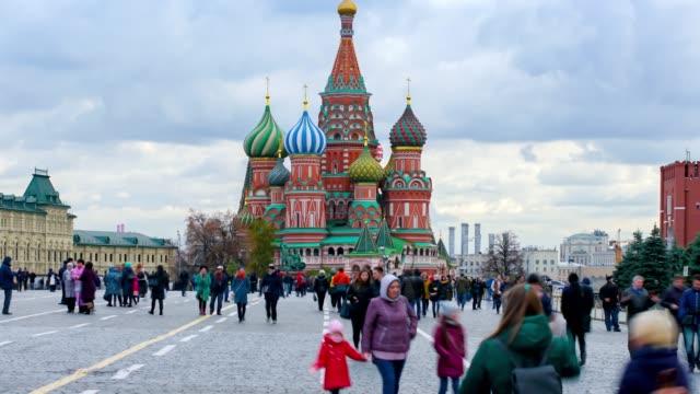 moskva ryssland timelapse skara människor i röda torget torg i moskva - kreml bildbanksvideor och videomaterial från bakom kulisserna