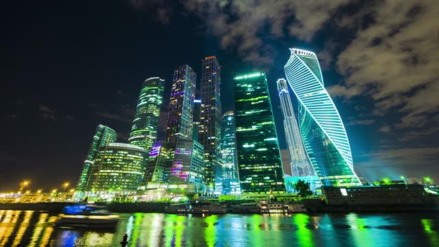 moskva skyskrapor på natten - moskva bildbanksvideor och videomaterial från bakom kulisserna