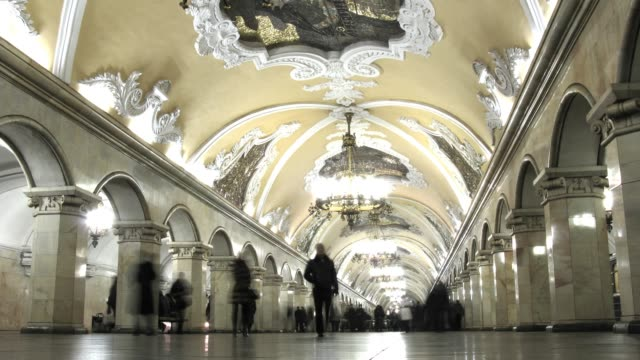 Moscow subway station, time lapse video