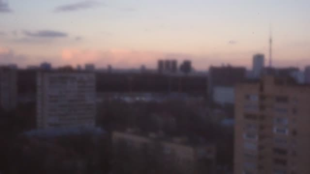 Moscow view with apartment blocks in the evening Retro style