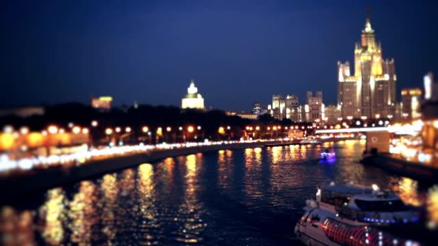 rzeka moskwa w nocy - rzeka moskwa filmów i materiałów b-roll