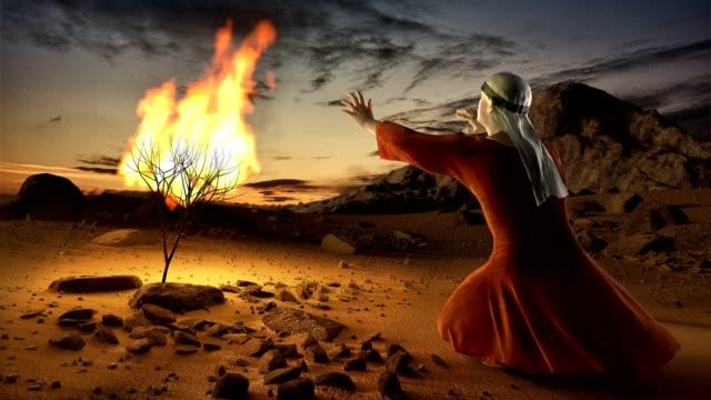 モーゼズと燃えるブッシュ - 過ぎ越しの祭り点の映像素材/bロール