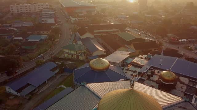 Mosque aerial view in Johor Bahru, Malaysia Sunrise city skyline of JB city johor bahru stock videos & royalty-free footage