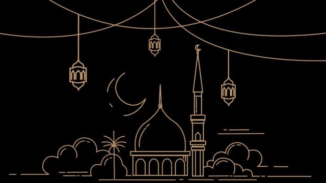 mosque in the month of ramadan kareem - lanterna attrezzatura per illuminazione video stock e b–roll