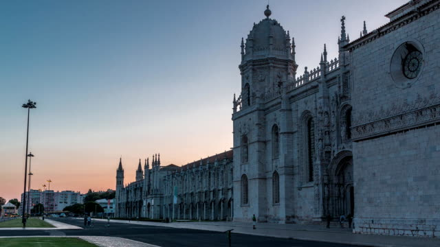 Mosteiro dos Jeronimos day to night timelapse, located in the Belem district of Lisbon, Portugal