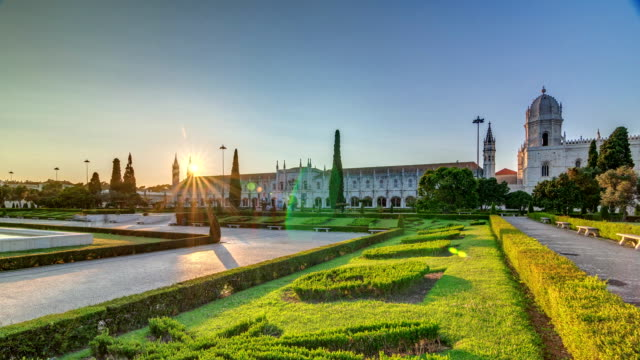 Mosteiro dos Jeronimos timelapse, located in the Belem district of Lisbon, Portugal