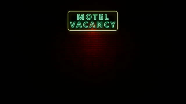 Motel Vacancy Neon Light Sign Flickering Animation of sign in neon with words motel vacancy flickering at wall in the night generation x stock videos & royalty-free footage