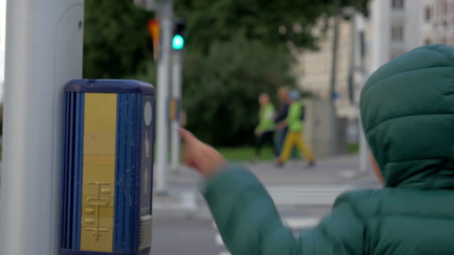 Mother and crossing the road on green light video