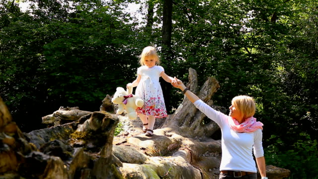 madre e figlia in equilibrio su log - albero caduto video stock e b–roll