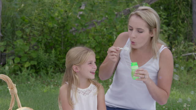 Mother and Daughter Blowing Bubbles in the Park video