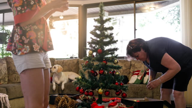Mother and daughter decorating christmas tree time lapse