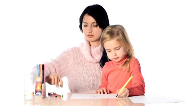 Mother and daughter girl draw together video