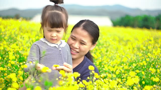Mother and daughter in flower fields video