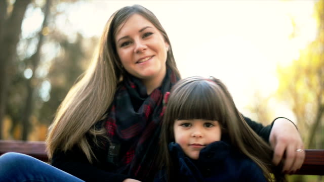 Mother and daughter in park video