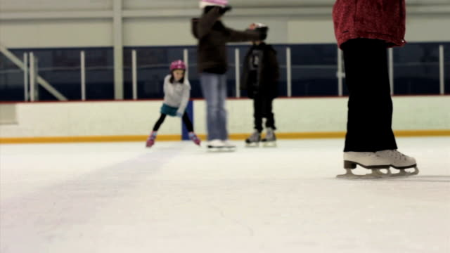 Mother And Daughter Practice Twirls Ice Skating video