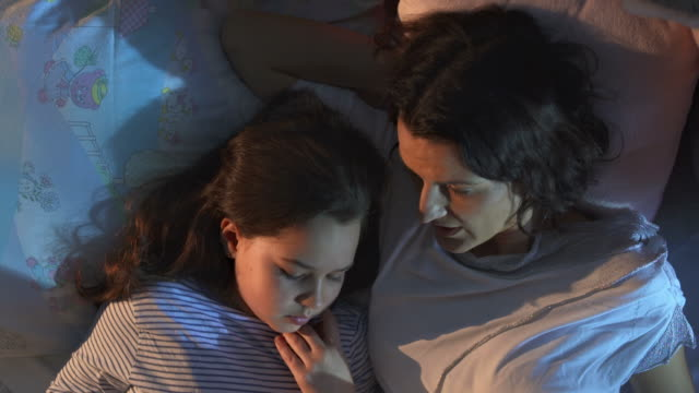 HD CRANE: Mother And Daughter Reading In Bed video