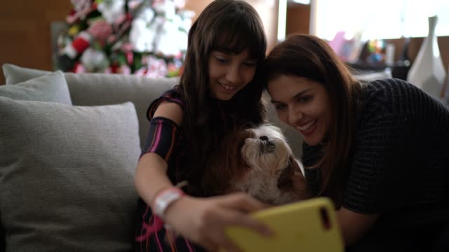 mother and daughter taking a selfie with dog at christmas time - video call with family video stock e b–roll