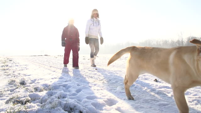 SLO MO Mother And Daughter Walking With Puppy video