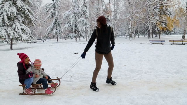 Video Mother and  hers daughters having fun, playing and laughing on snowy winter walk in nature