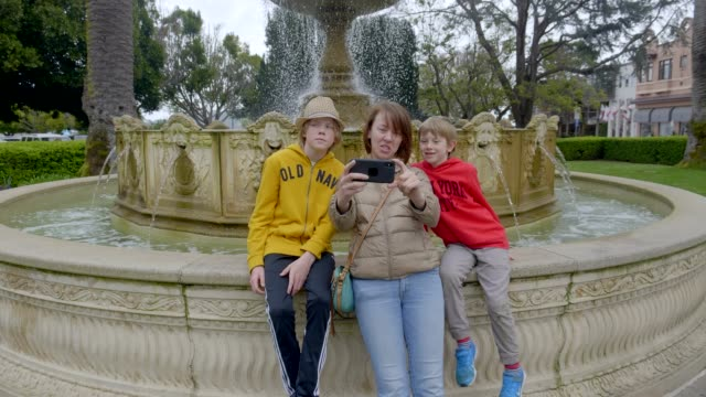 Mother and kids are taking selfie