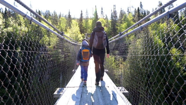 Mother and Son Crossing a Suspension Bridge in Aiguebelle National Park A mother and her preschool age son are crossing the suspension bridge over Lake La Haie in Aiguebelle National Park. It is a beautiful sunny summer day in Rouyn-Noranda. This video is in slow motion and taken in La Traverse Footpath. suspension bridge stock videos & royalty-free footage