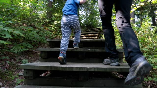 母と息子のハイキング トレイルに森を探索 - ステップ点の映像素材/bロール