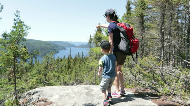 Mother and Son Hiking in Forest in Summer