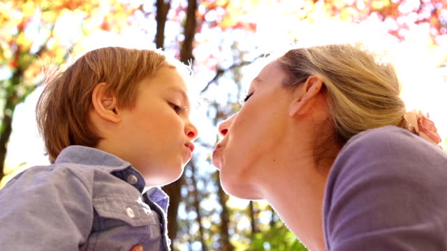 Mother and son kiss video