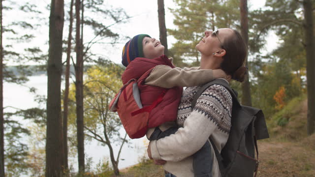 Mother and son on hiking