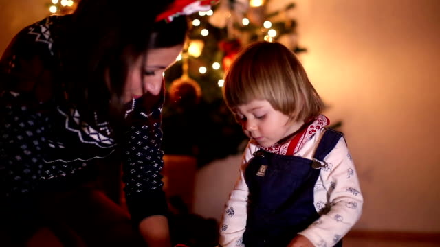 Mother and Son Opening Christmas Presents video