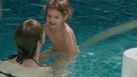 istock Mother and toddler girl enjoying the pool. 1273358375