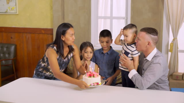 Mother Bring Cake For Happy Birthday Her Son video