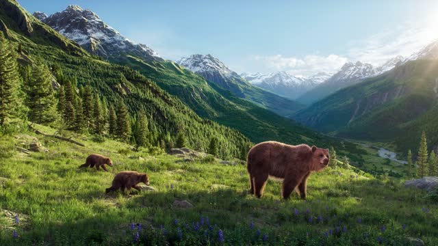 A mother brown bear coming out of the cave with two cubs, in the high mountains A mother brown bear coming out of the cave with two cubs, flowers blooming in spring, wild free life in high mountains bear stock videos & royalty-free footage