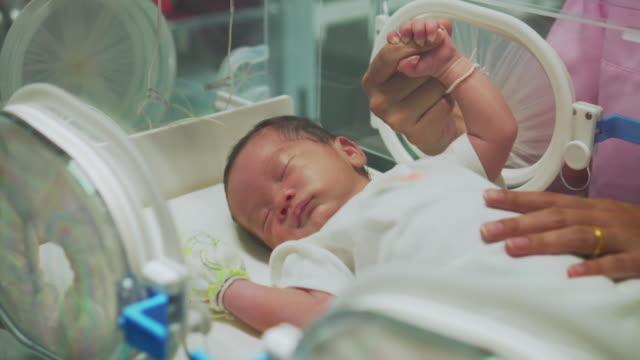 Mother Holding Newborn Baby's Finger  In Incubator