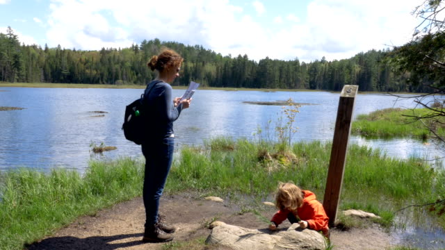 Mother Reading a Map and a Child Playing with a Pine Twig Outdoors A mother standing and reading a map while her daughter plays with a pine twig. A gorgeous Canadian cottage country nature panorama behind them. Long shot. marsh stock videos & royalty-free footage
