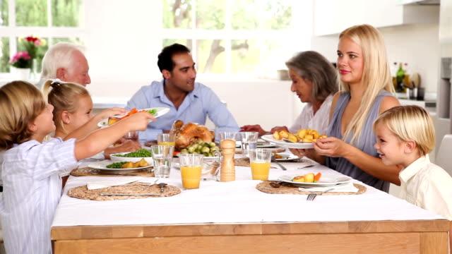 Mère servant rôti pommes de terre pour fils à dîner en famille - Vidéo