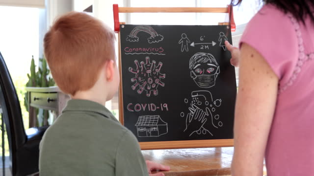 Mother Teaching Redhead Son About Coronavirus and Covid-19