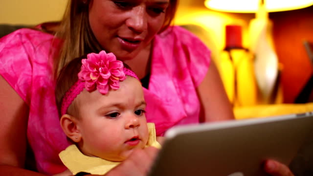 Mother with Baby and Tablet PC video