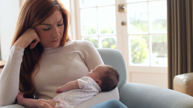 Mother With Baby Suffering From Post Natal Depression video