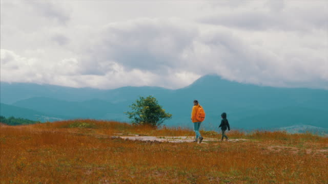 Mother with son hiking in scenic mountains video
