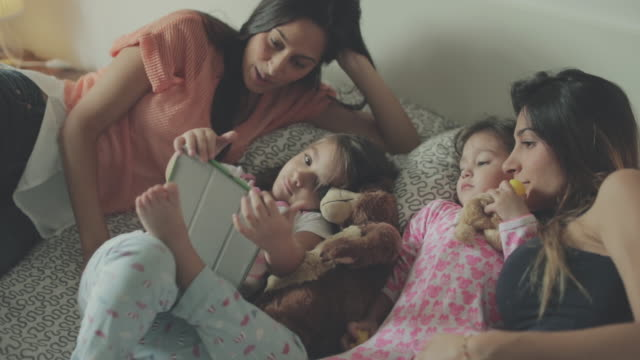 Mothers and daughters relaxing time at home video