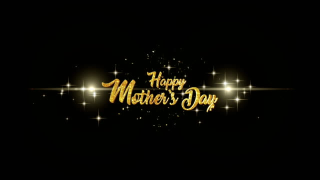 mothers day  beautiful golden greeting text appearance from blinking particles with golden fireworks background. - mothers day stock videos & royalty-free footage