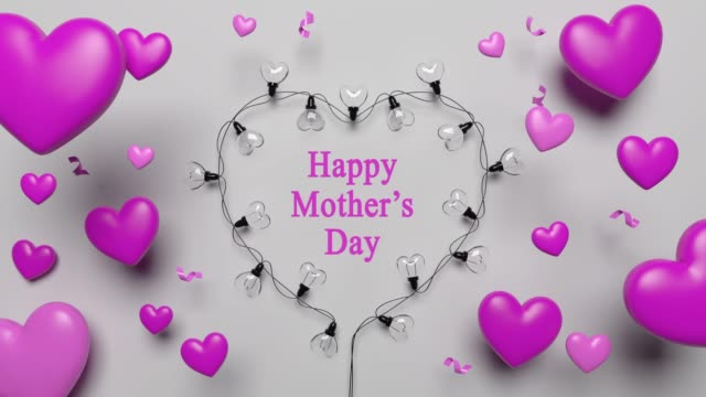 Mother's Day Card With Pink Hearts And Lights