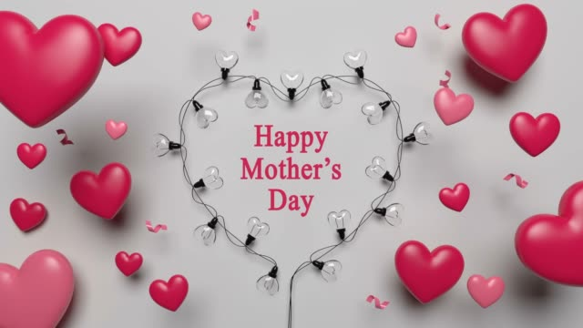 Mother's Day Card With Red Hearts And Lights