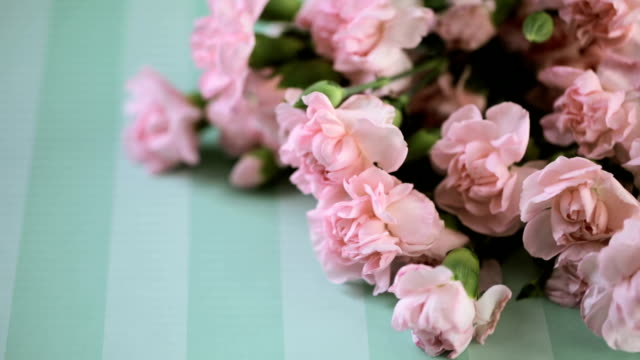 Mother's Day Pink flowers for Mother's Day on stripe paper. mothers day stock videos & royalty-free footage