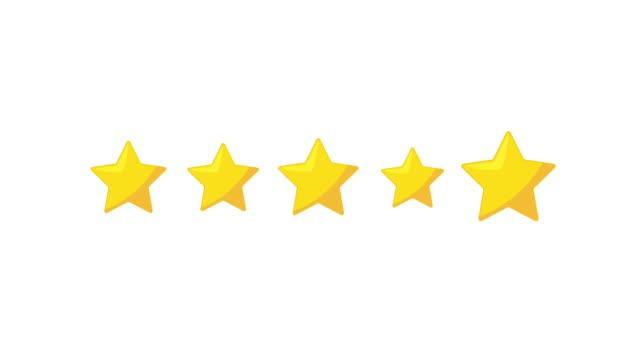 2d motion 5 gwiazdki, które odzwierciedlają koncepcję gwiazdek w oparciu o zadowolenie klienta. - evaluation filmów i materiałów b-roll
