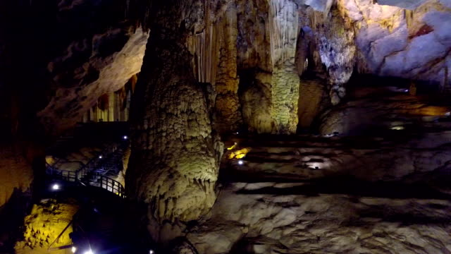 motion around giant stalactite columns of Paradise Cave
